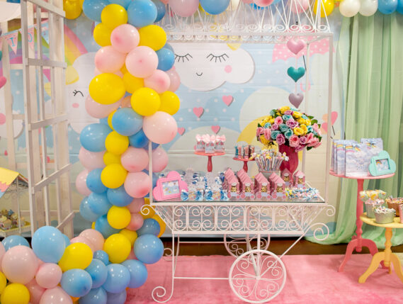 blue yellow and pink balloons for a party Seattle