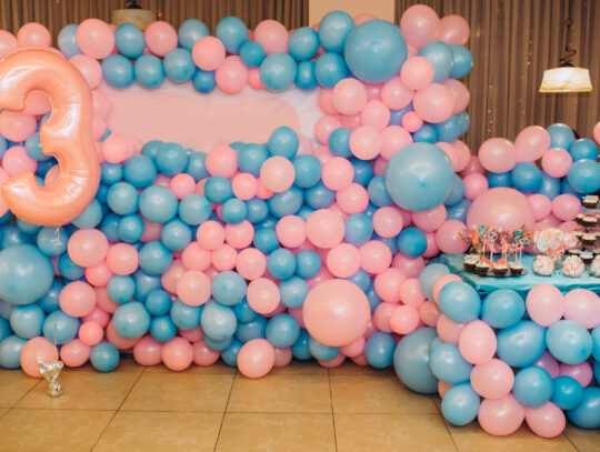 pink and blue balloons for a birthday party Seattle